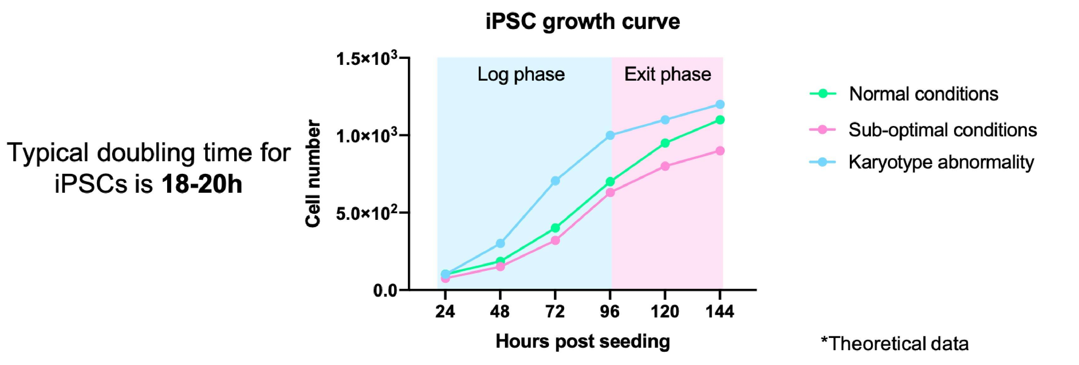 Example of a theoretical iPSC growth curve. 18-20h doubling time (dt) under normal conditions. Sub-optimal culture conditions may increase dt, while karyotypic abnormalities may reduce dt.